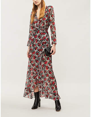 The Kooples Floral and lace-print silk-blend dress