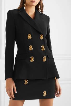 Moschino Double-breasted Embellished Crepe Blazer - Black