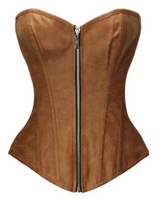 8c17e5ea884 Bslingerie Womens Faux Leather Zipper Front Bustier Corset (XXL