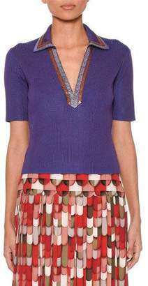 Bottega Veneta Short-Sleeve V-Neck Cropped Ribbed-Knit Polo Top with Snakeskin Trim Collar