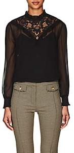 Derek Lam 10 Crosby Women's Lace-Inset Georgette Blouse - Black