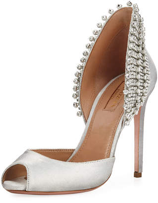 Aquazzura Concorde Metallic Embellished High-Heel d'Orsay Sandals