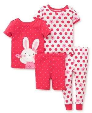 Little Me Baby Girl's Four-Piece Bunny Pajama Set