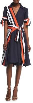 Milly Valerie Stretch-Poplin Midi Wrap Dress
