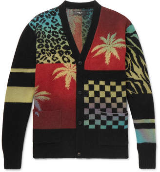 Amiri Oversized Patchwork Intarsia Cashmere and Virgin Wool-Blend Cardigan - Men - Multi