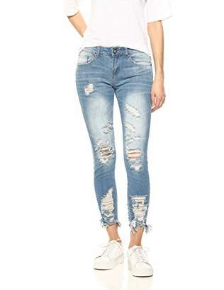Cover Girl High Waisted Cute Ripped Patched Repair Blue Skinny Juniors