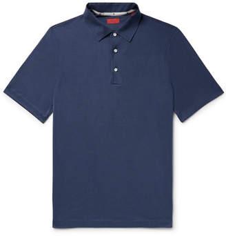 Isaia Silk And Cotton-Blend Polo Shirt