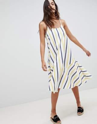 Asos DESIGN Stripe Swing Trapeze Midi Sundress With Lace Up Back