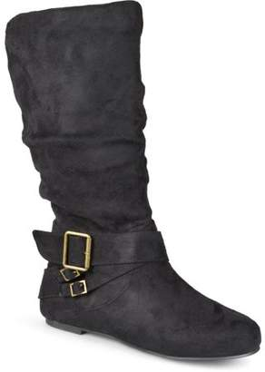 Brinley Co. Women's Wide-Calf Buckle Mid-Calf Slouch Boots