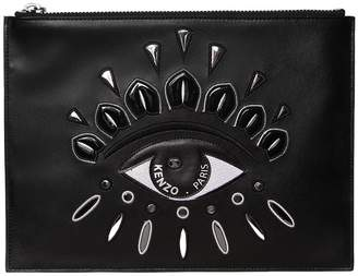 Kenzo Eye Embroidered Leather Pouch