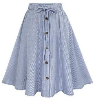 Shein Vertical Striped Buttoned Front Skirt