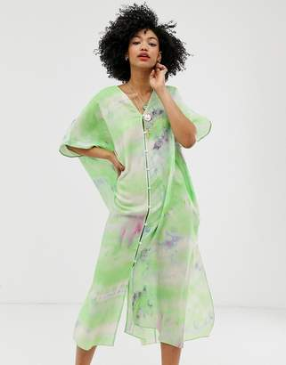 And other stories &  tie dye button through kaftan dress in green
