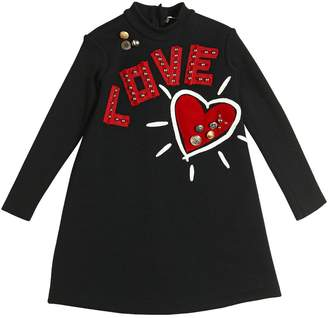 Dolce & Gabbana Love & Heart Patches Wool Sweater Dress
