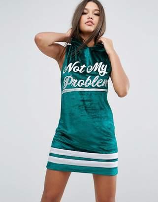 Asos Sleeveless Velvet Hoodie Mini Dress With Varsity Print