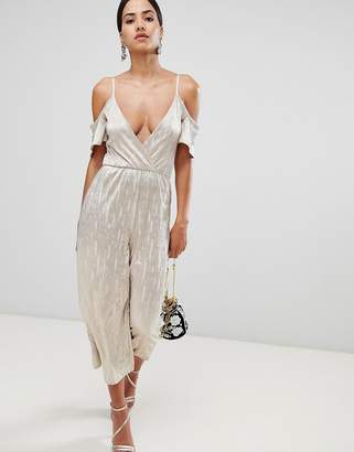 Rare London Cold Shoulder Metallic Culotte Jumpsuit