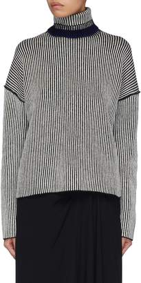 Theory Colourblocked collar stripe oversized cashmere sweater