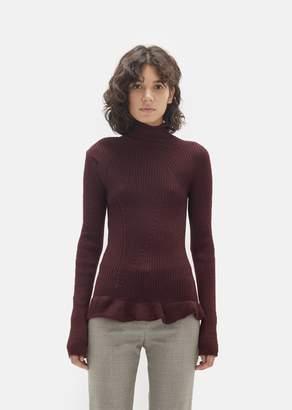 Acne Studios Rosie Rib Knit Turtleneck Red Wine