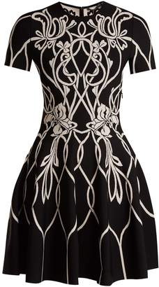 Alexander McQueen Art Nouveau-intarsia short-sleeved dress