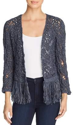 Nic+Zoe Fiji Waves Lace-Knit Fringed Jacket