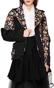 Women's Cutout Floral Crepe Two-Button Blazer - Black