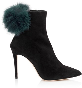 Jimmy Choo TESLER 100 Black Suede Booties with Bottle Green Fox Fur Pom Poms