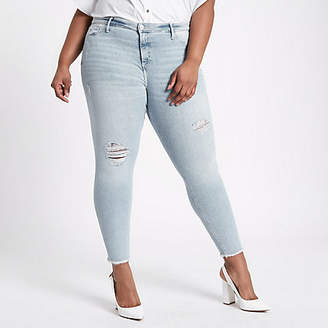 River Island Plus light blue Molly skinny ripped jeggings
