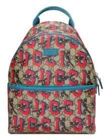 Gucci Kid's Graffiti Print Logo Back Backpack