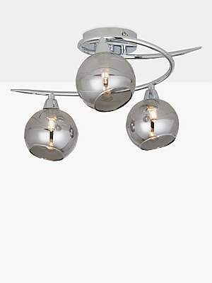 d9947721d21b John Lewis & Partners Ribbon Semi Flush, 2 Arm Smoked Glass Ceiling Light,  Chrome