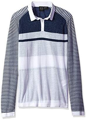 Armani Exchange A|X Men's Linen Cotton Stripe Long Sleeve Polo
