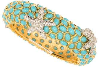 Kenneth Jay Lane Turquoise And Crystal Starfish Bracelet