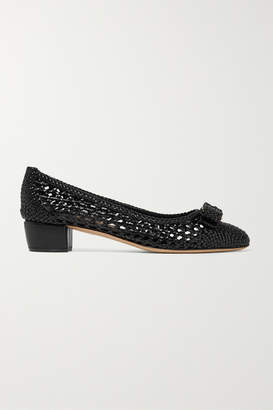 Salvatore Ferragamo Vara Bow-embellished Woven Leather Pumps - Black