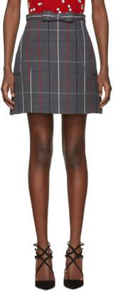 Miu Miu Grey Plaid A-Line Pockets and Bow Miniskirt