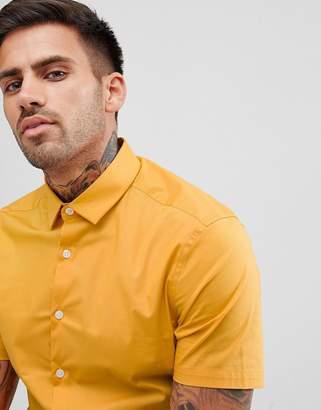 Asos Design Skinny Shirt In Light Mustard With Short Sleeves