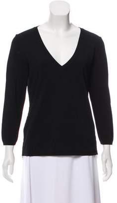 Prada Sport V-Neck Zipper-Accented Sweater