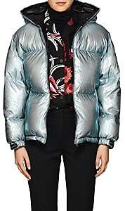 Prada Women's Holographic Hooded Down Puffer Jacket - Green