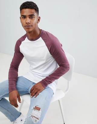 Asos DESIGN Muscle Fit Contrast Raglan Long Sleeve T-Shirt