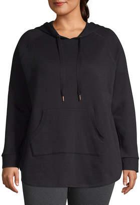 Xersion Womens Long Sleeve Fleece Hoodie-Plus