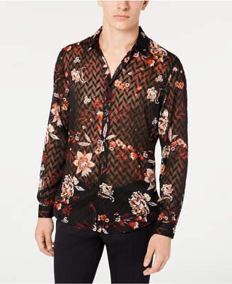 INC International Concepts I.n.c. Men Sheer Chevron Floral Shirt