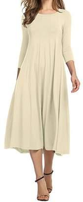 AUDATE Women's 3/4 Sleeve A-line Flared Midi Long Dress Plus Size S