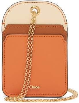 Chloé Walden Chain Strap Leather Cardholder - Womens - Brown Multi
