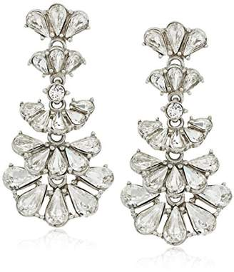 Ben-Amun Jewelry Pearl and Crystal Deco Fan Post Drop Earrings for Bridal Wedding Anniversary