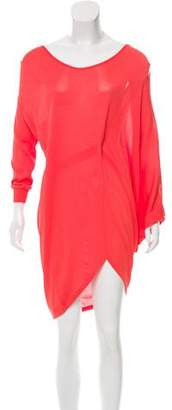 Halston Asymmetrical Long Sleeve Dress