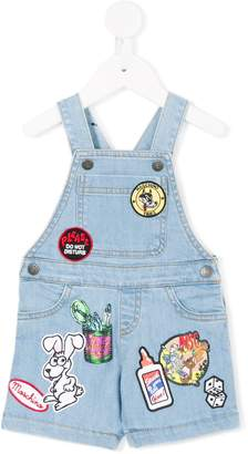 Moschino Kids patch-work denim dungarees