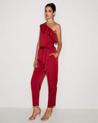Express One Shoulder Ruffle Front Jumpsuit