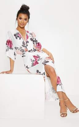 PrettyLittleThing White Floral Print Twist Front Batwing Sleeve Midi Dress