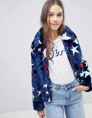 Asos Design DESIGN faux fur jacket in star print