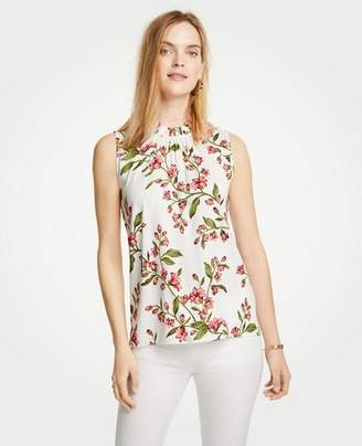 Ann Taylor Tall Floral Corded Ruffle Neck Shell
