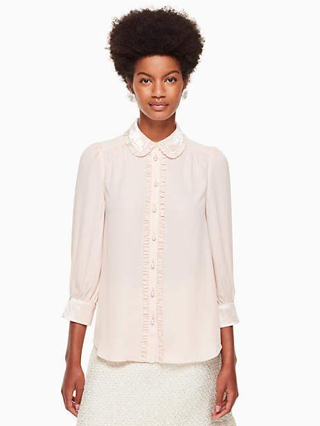 Velvet trim pearl button shirt