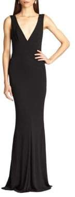 ABS by Allen Schwartz Women's Jersey Deep V-Neck Gown - Royal - Size Large