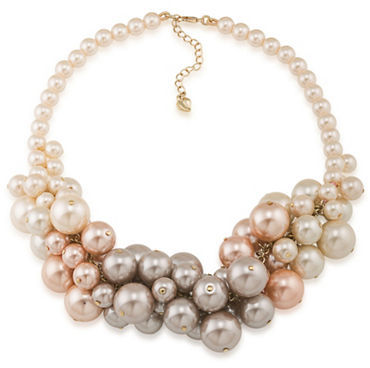 Carolee Carolee Pink Champagne Faux Pearl Cluster Necklace